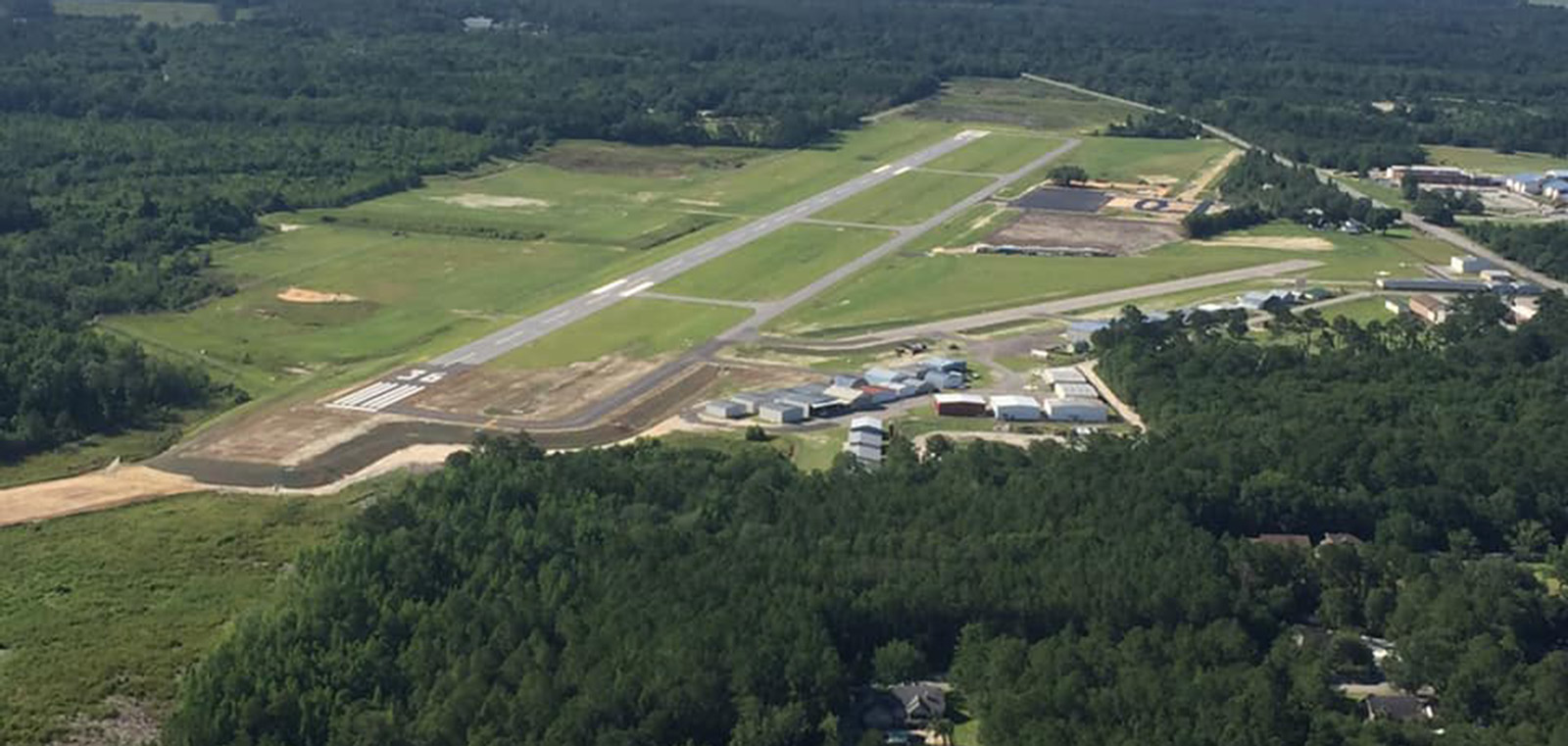 NEW RUNWAY PROGRAM COMPLETED RUNWAY AERIAL RIDGELAND-CLAUDE DEAN AIRPORT(3J1)